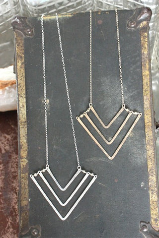 Chevron Necklace, Triple with Pyrite