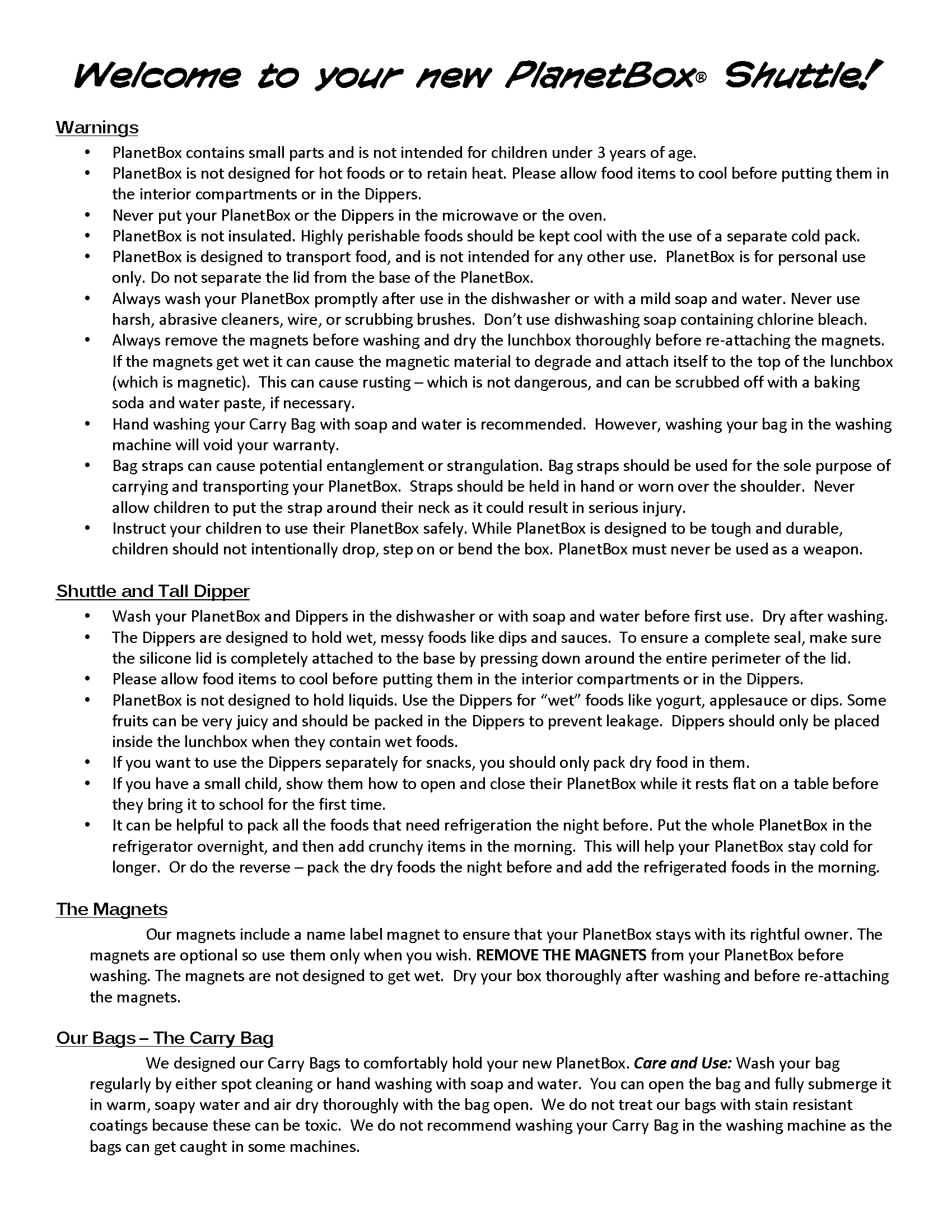 Shuttle instructions, page 1