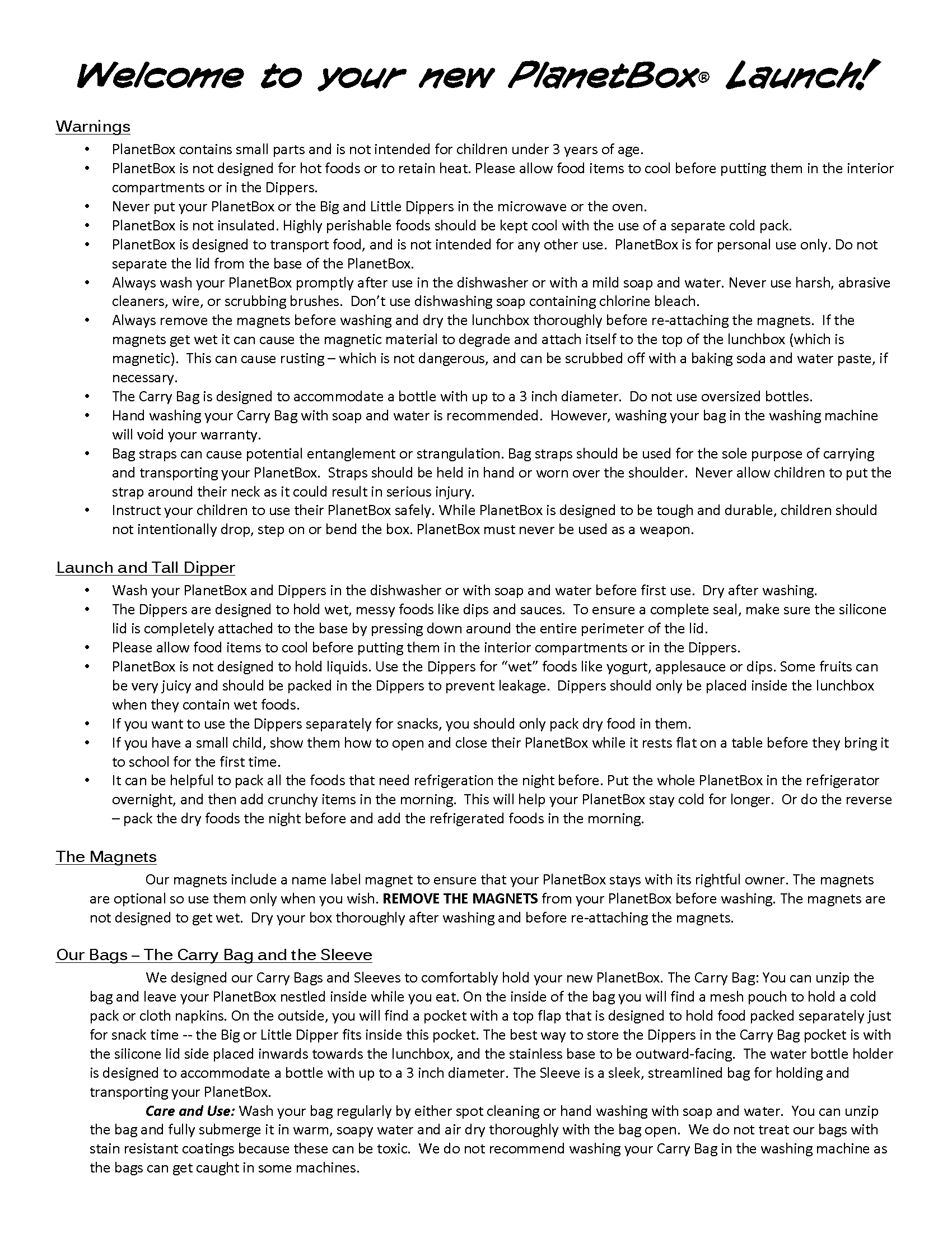 Launch instructions, page 1