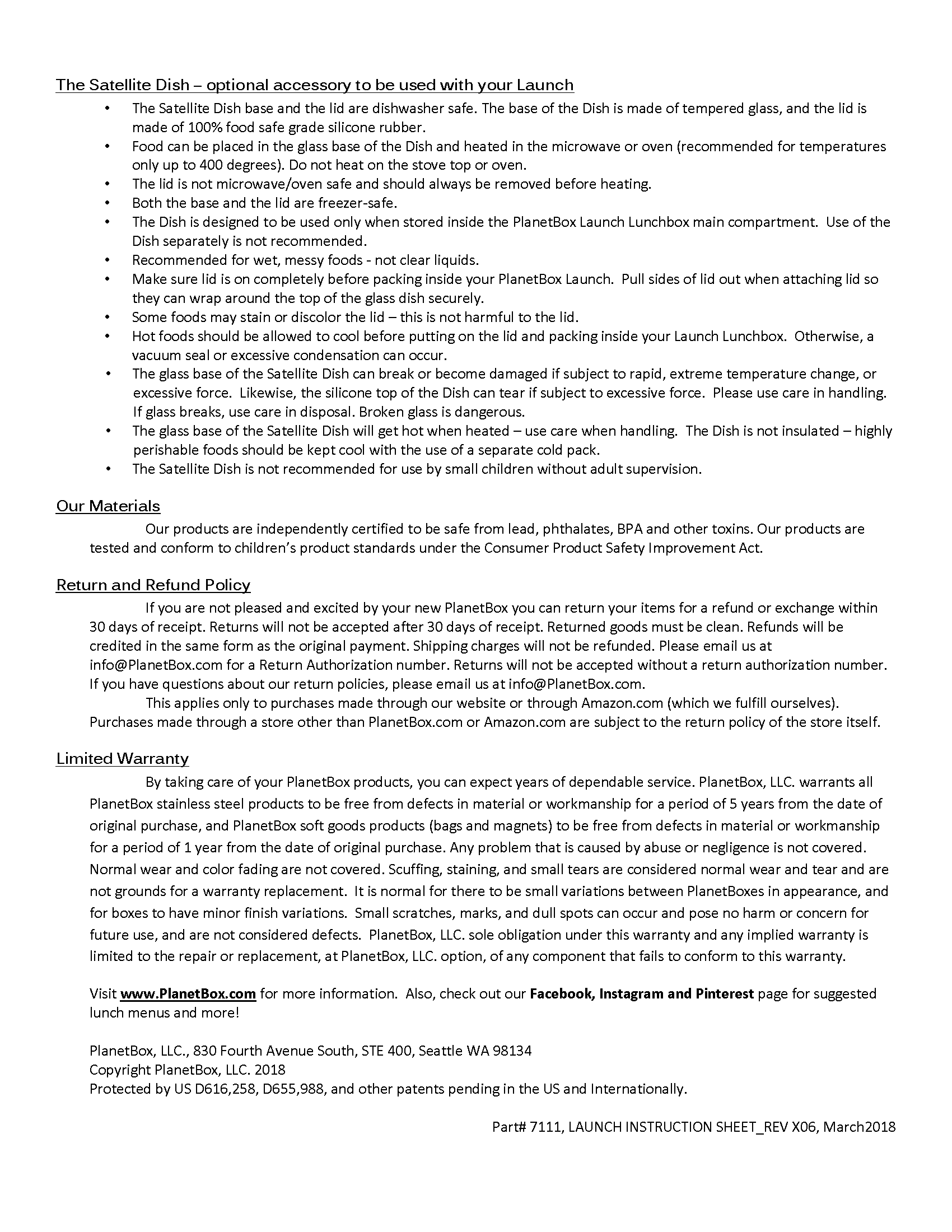 Launch instructions, page 2