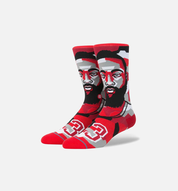 STANCE JAMES HARDEN MOSAIC NBA LEGENDS CLASSIC CREW SOCKS MEN'S - RED/BLACK/GREY