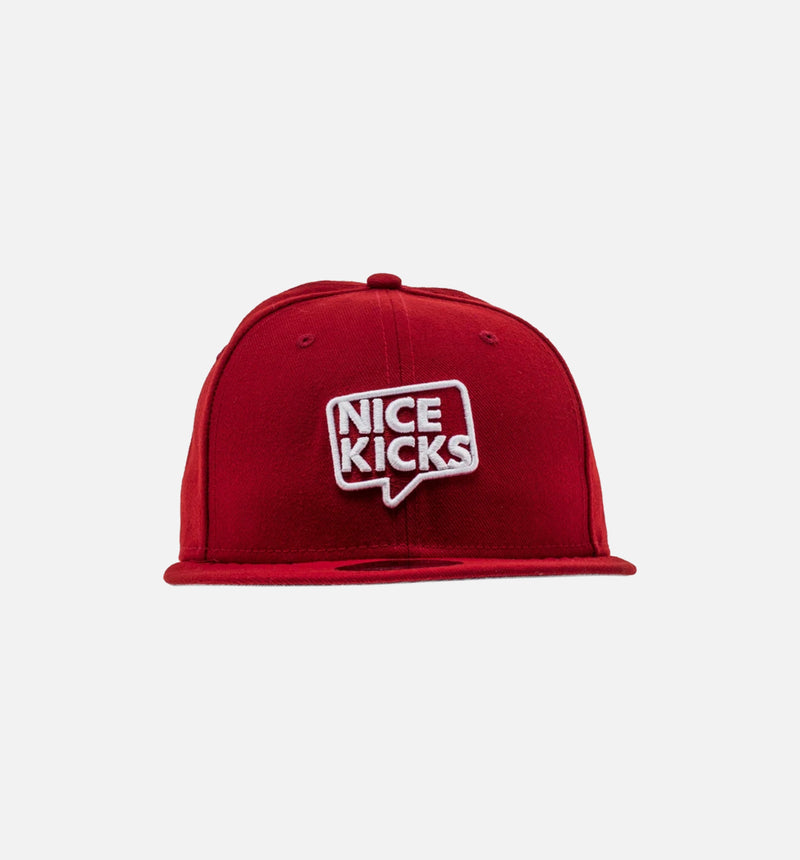 NEW ERA X NICE KICKS 'NICE ANGELES' HAT - SCARLET RED/WHITE