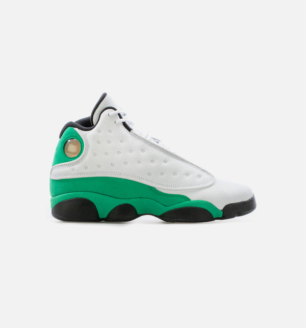 AIR JORDAN 13 RETRO LUCKY GREEN GRADE SCHOOL LIFESTLE SHOE - WHITE/BLACK/GREEN