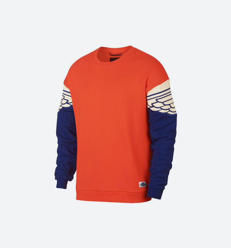 AIR JORDAN WINGS CLASSIC MENS CREW SHIRT - TEAM ORANGE/DEEP ROYAL BLLUE/CRIMSON TINT