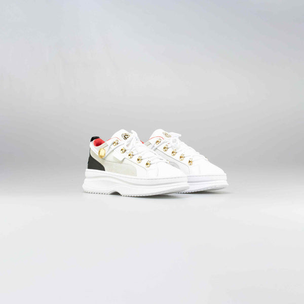 BALMAIN X PUMA DEVA WOMENS LIFESTYLE SHOE - WHITE/BLACK-RED-GOLD