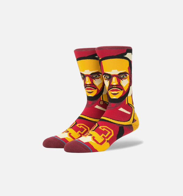 STANCE LEBRON JAMES MOSAIC NBA LEGENDS CLASSIC CREW SOCKS MEN'S - BURGUNDY/YELLOW