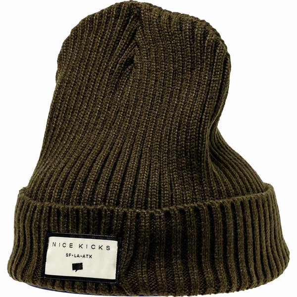 NICE KICKS SAN FRANCISCO LOS ANGELES AUSTIN BEANIE - OLIVE GREEN