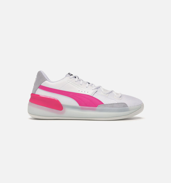 CLYDE HARDWOOD MENS BASKETBALL SHOE - WHITE/PINK