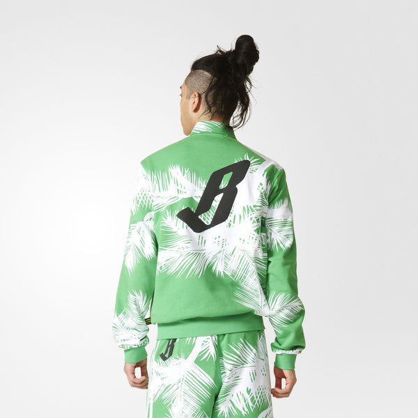 "ADIDAS ORIGINALS PHARRELL WILLIAMS BBC TRACK JACKET ""PALM TREES"" MEN'S - WHITE/VIVID GREEN"
