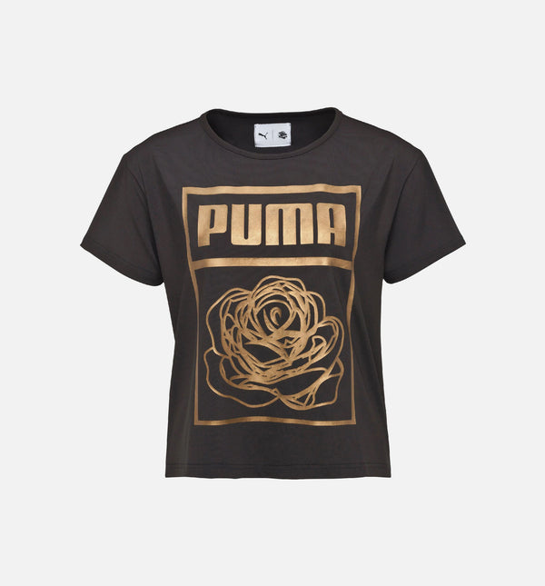 PUMA X CAREAUX LOGO TEE WOMEN'S - PUMA BLACK/ROSE GOLD