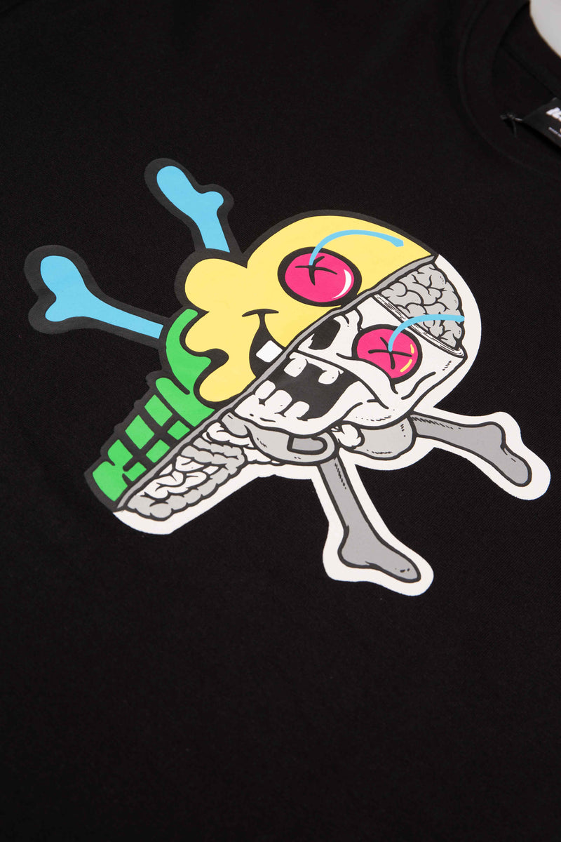 ICE CREAM SKULL MENS T-SHIRT - BLACK/BLACK
