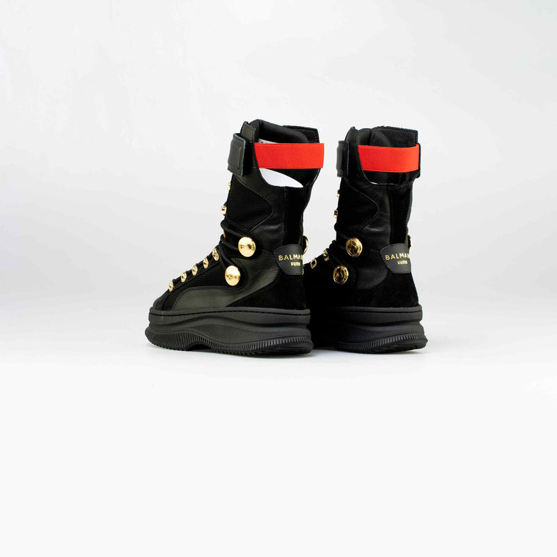 BALMAIN X PUMA DEVA WOMENS LIFESTYLE BOOTS - BLACK/GOLD-RED