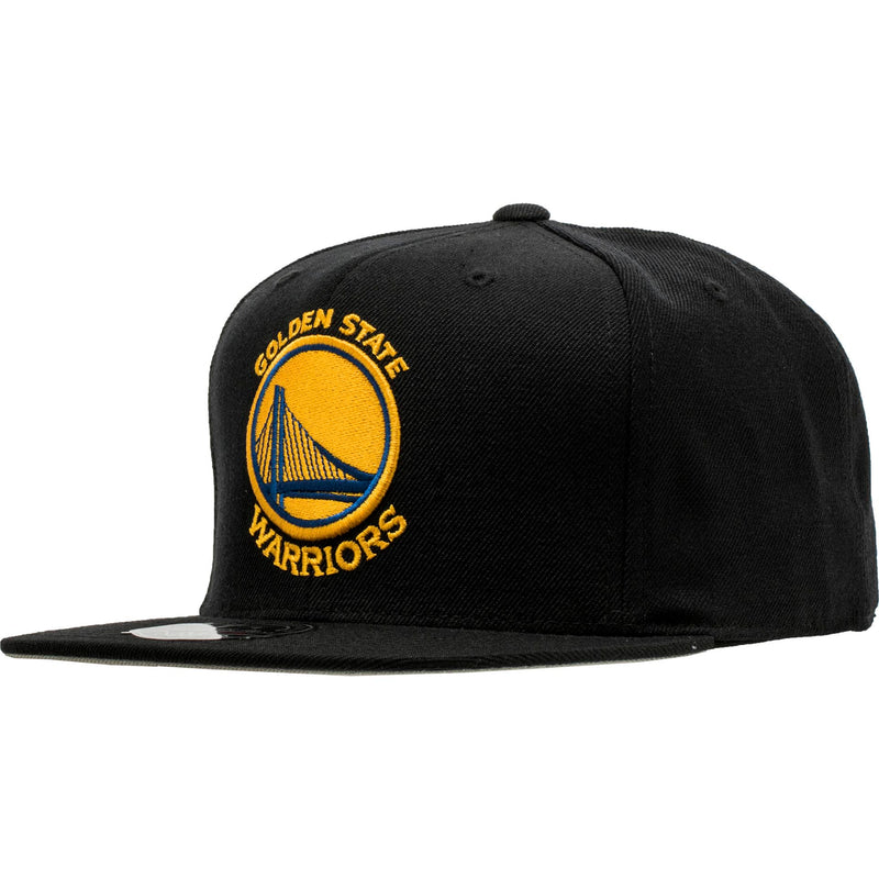 MITCHELL AND NESS GOLDEN STATE WARRIORS NBA HIGH CROWN FITTED HAT MEN'S - BLACK/YELLOW