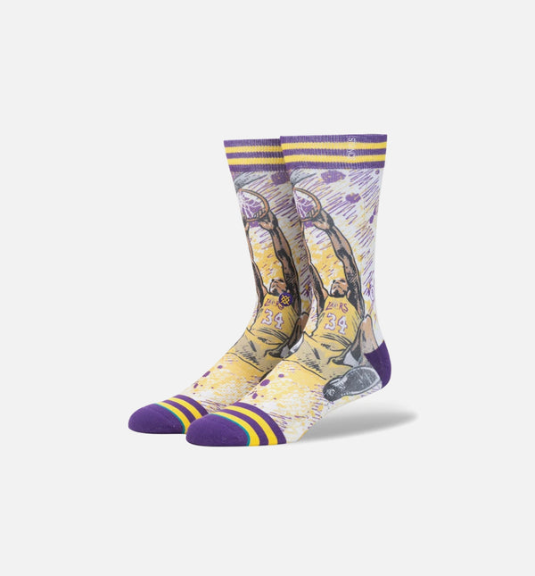 STANCE TF SHAQUILLE O NEAL CLASSIC CREW SOCKS MEN'S - PURPLE/YELLOW