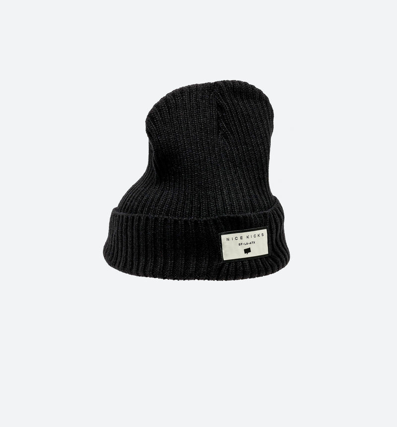 NICE KICKS SAN FRANCISCO LOS ANGELES AUSTIN BEANIE - BLACK