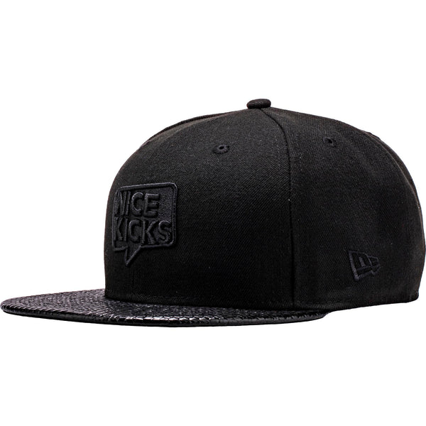 Nice Kicks x New Era Snapback Hat - Black/Geo Leather
