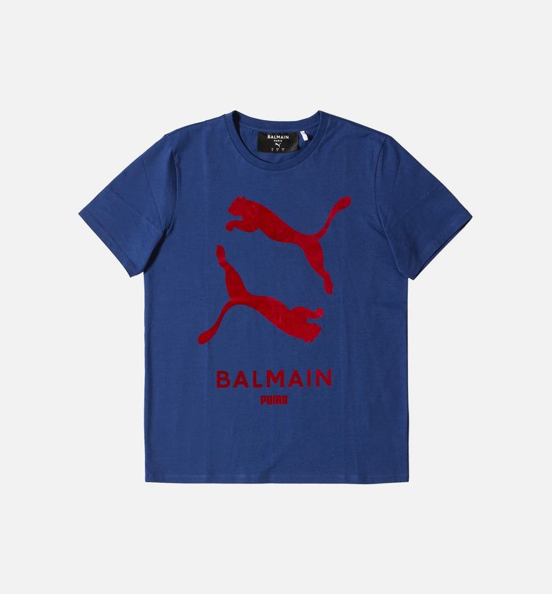 BALMAIN X PUMA MENS GRAPHIC T-SHIRT - BLUE/RED