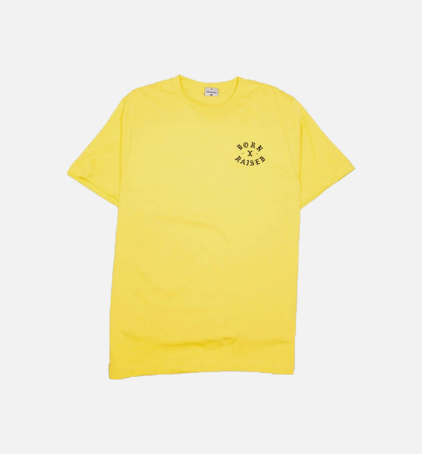 BORN X RAISED FALLEN ANGEL MENS T-SHIRT - YELLOW/YELLOW