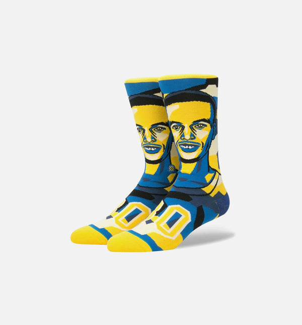 STANCE STEPHEN CURRY MOSAIC NBA LEGENDS CLASSIC CREW SOCKS MEN'S - ROYAL BLUE/YELLOW