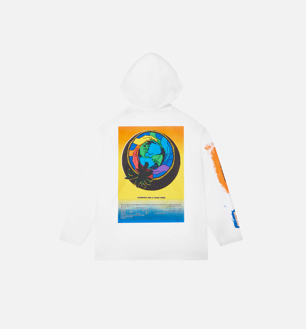 ROKIT MENS T-SHIRT HOODIE - WHITE/BLUE/ORANGE/BLACK