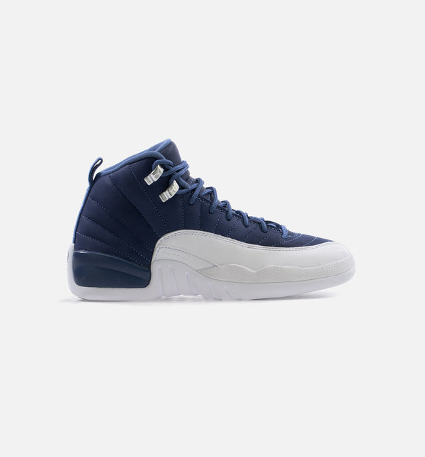 AIR JORDAN 12 RETRO INDIGO GRADE SCHOOL LIFESTYLE SHOE - BLUE/INDIGO/WHITE