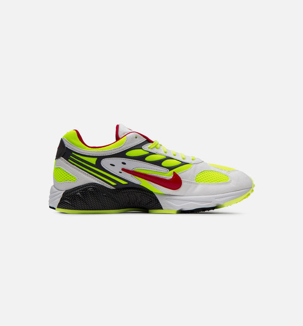 AIR GHOST RACER MENS RUNNING SHOE - WHITE/NEON YELLOW/ATOM RED/DARK GREY