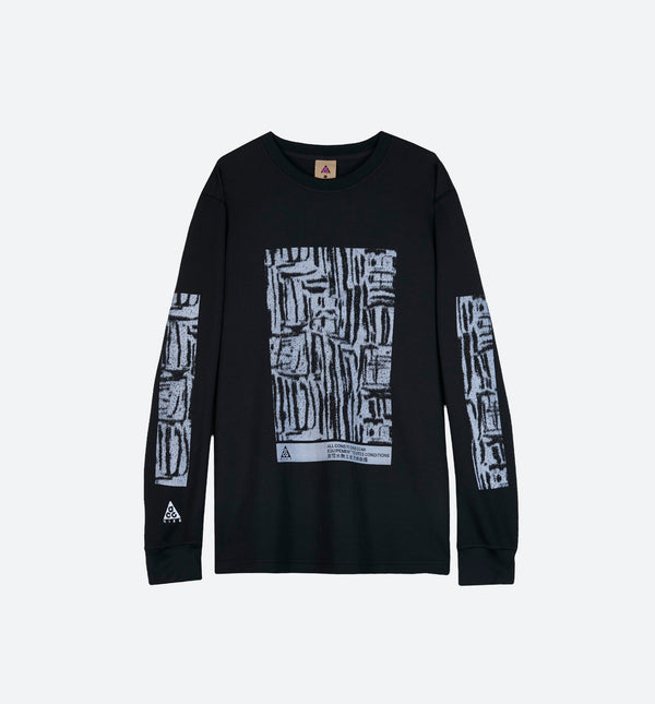 NRG ACG WAFFLE LONG SLEEVE MENS SHIRT - BLACK/BLACK