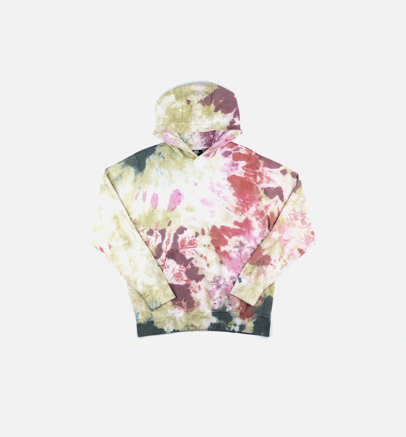 PULLOVER TIE DYE MENS HOODIE - DARK BEETROOT/WHITE/GREY