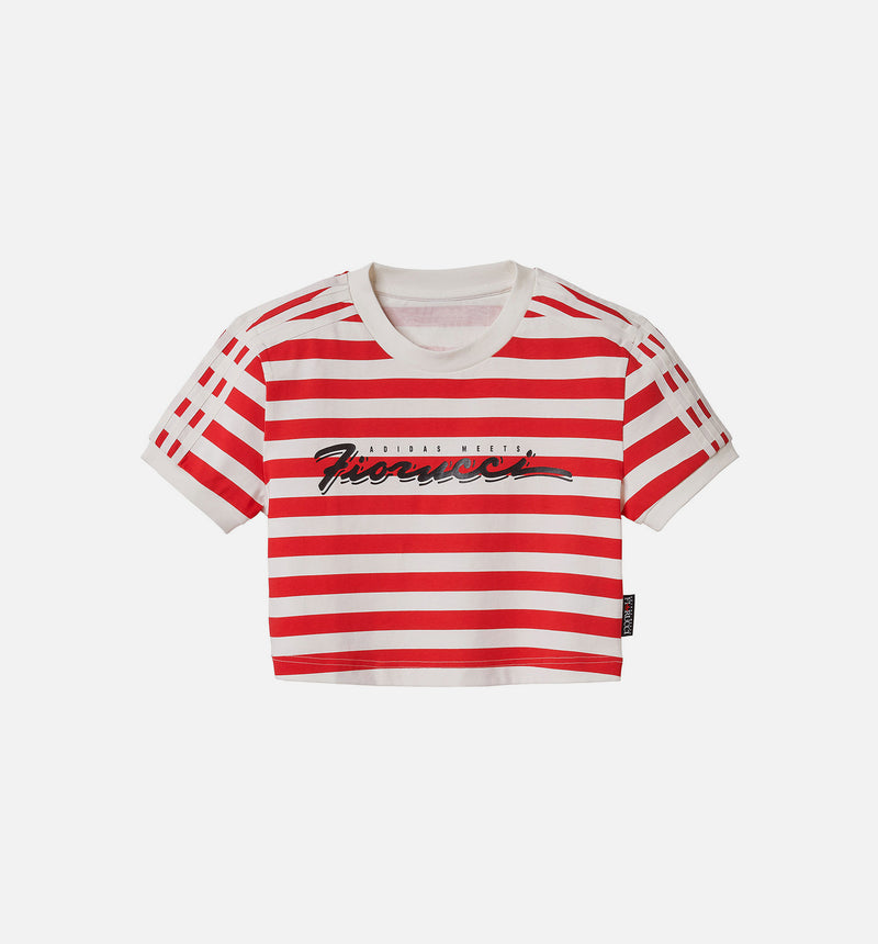 ADIDAS X FIORUCCI WOMENS CROP TOP - WHITE/RED