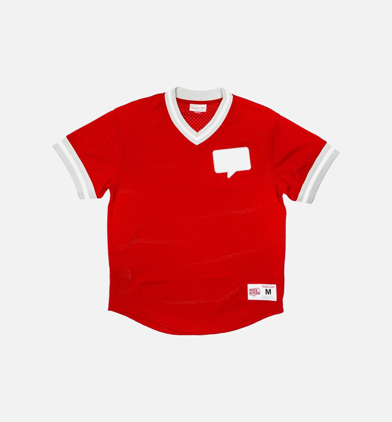 MITCHELL & NESS V NECK MESH NICE KICKS SHIRT - RED/WHITE