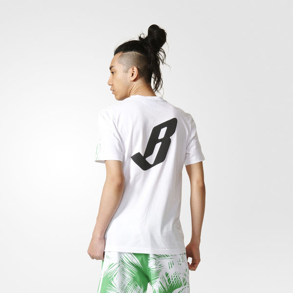 "ADIDAS ORIGINALS PHARRELL WILLIAMS BBC TEE ""PALM TREES"" MEN'S - WHITE/VIVID GREEN"