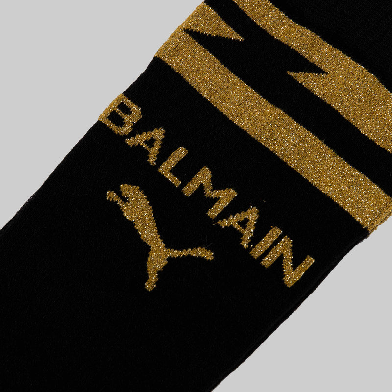 BALMAIN X PUMA WOMENS KNEEHIGH SOCKS - BLACK
