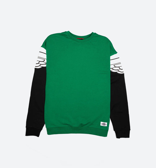 AIR JORDAN WINGS CLASSIC MENS CREW SHIRT - PINKE GREEN/BLACK/IVORY
