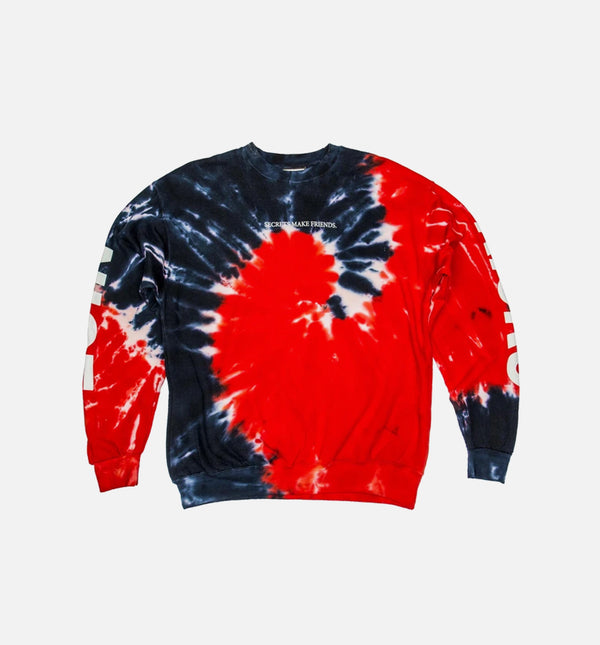 NICE KICKS TIE DYE SECRET CREW NECK MEN'S SWEATER - BLUE/RED