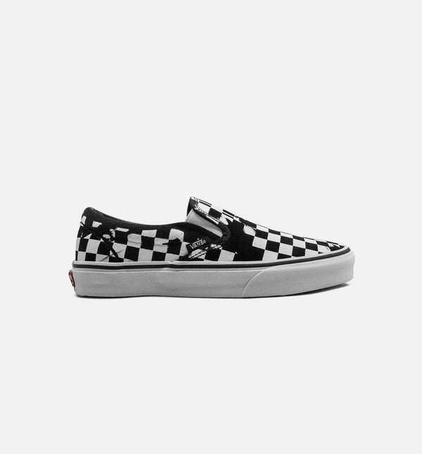 OVERPRINT CHECK CLASSIC SLIP ON MENS SHOE -  CHECKERBOARD BLACK/WHITE