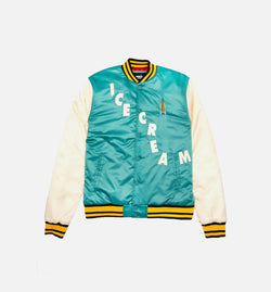 ICE CREAM RETRO MENS VARSITY JACKET - TEAL/MULTI