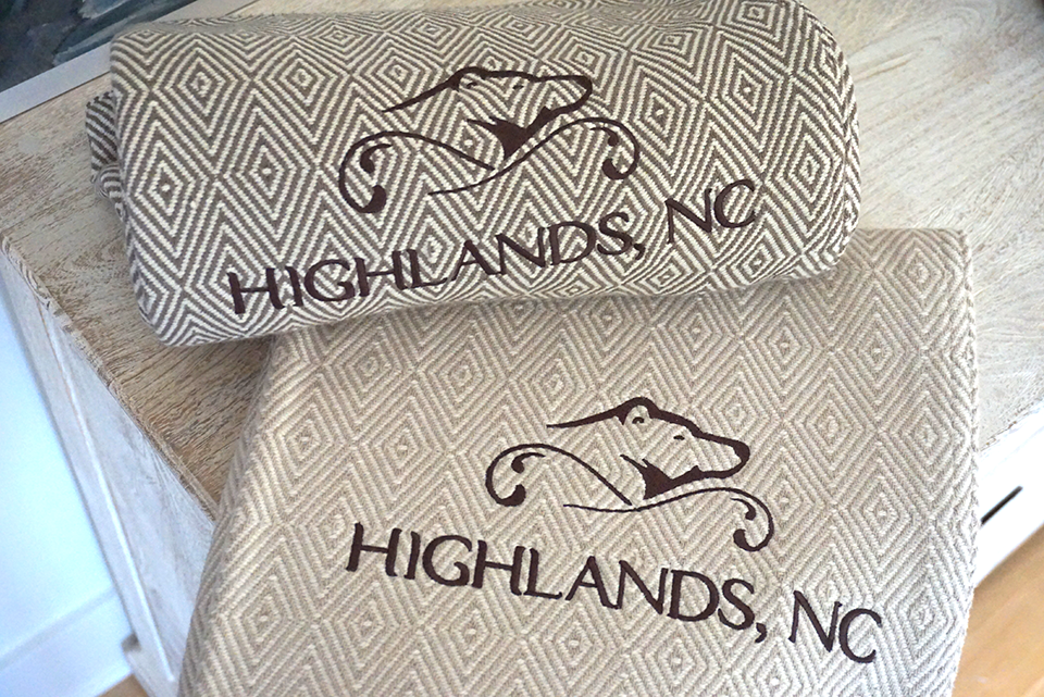 Custom resort or small business blanket design with logos