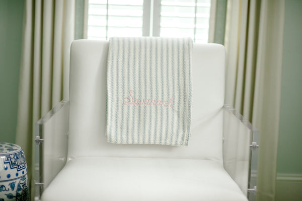Forever Blanket {throw} by Swell Forever - Blue ticking with light pink monogram