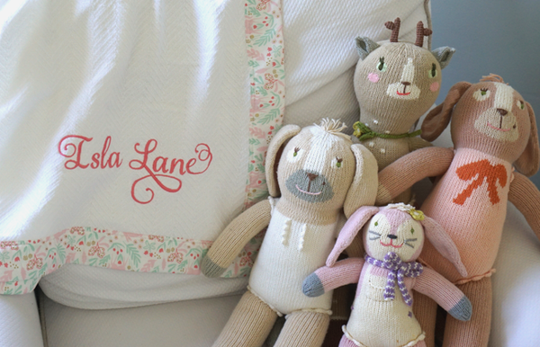Unicorn heirloom baby blanket with bunnies, personalized gift. Swell Forever