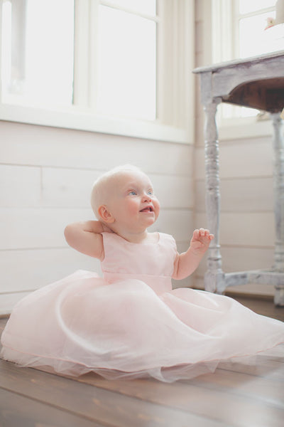 Baby Light Pink Tulle Party Dress from Hobby Lobby Pattern, Handmade and beautiful!