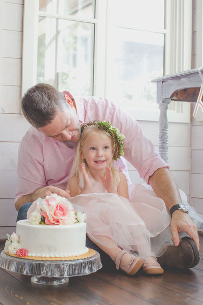 Birthday girl and her cake with daddy. Shabby chic tea party birthday, Pink tulle dress.