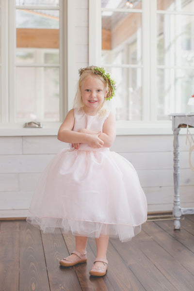 Light pink Hobby Lobby Tulle Dress Pattern, Handmade toddler party dress.