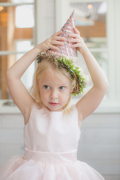 Handmade party hat for toddler tea party birthday, tulle pink dress with full skirt.