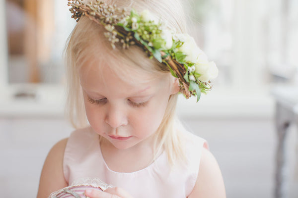 Toddler Tulle Pink Dress and Flower Girl Style Crown, Headpiece made of roses.