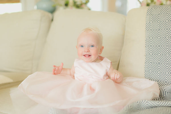 Pink Tulle Baby Girl Party Dress, Flower Girl Style.