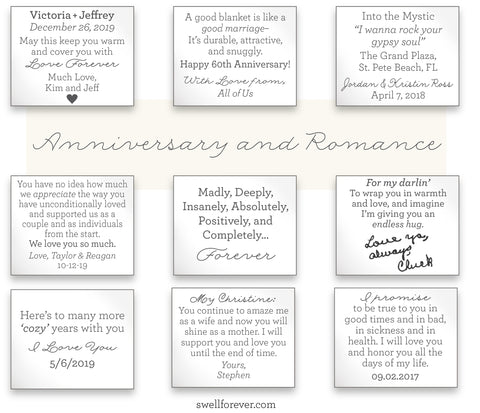 Romantic custom gifts for wife, husband, girlfriend, boyfriend. Cotton anniversary, 50th anniversary, 40th anniversary gift ideas.