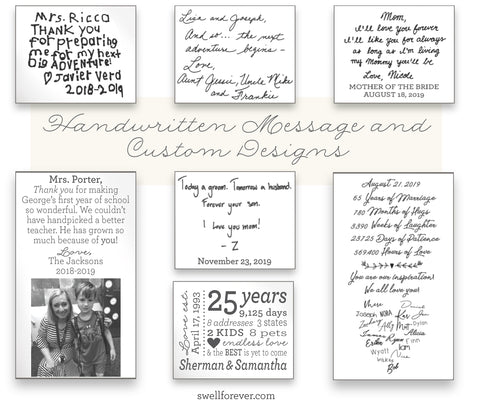 Custom gifts using handwritten letters, card and notes. Custom photo gifts and logo gift ideas.