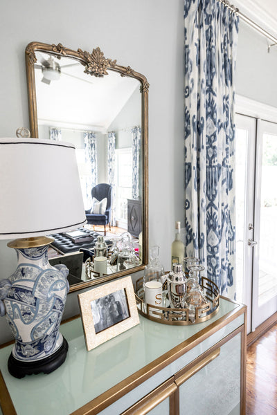 Vintage Mirror and blue accent table