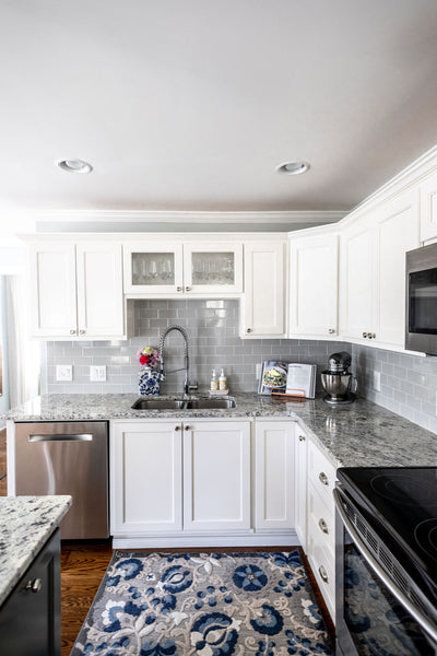 White cabinets in cottage kitchen