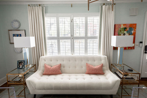 Coral pinks transitional living room style